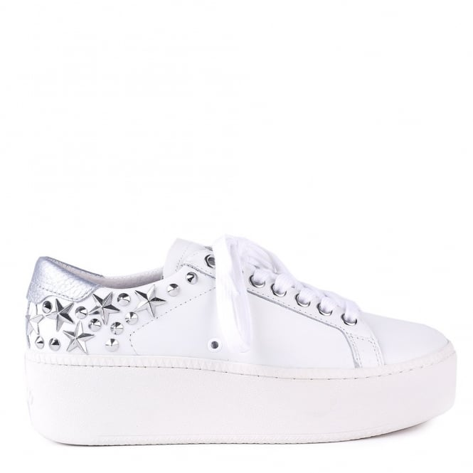 Ash CYBER Trainers White Leather & Silver Studs