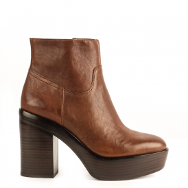 DAKOTA Heeled Boots Cacao Brown Leather
