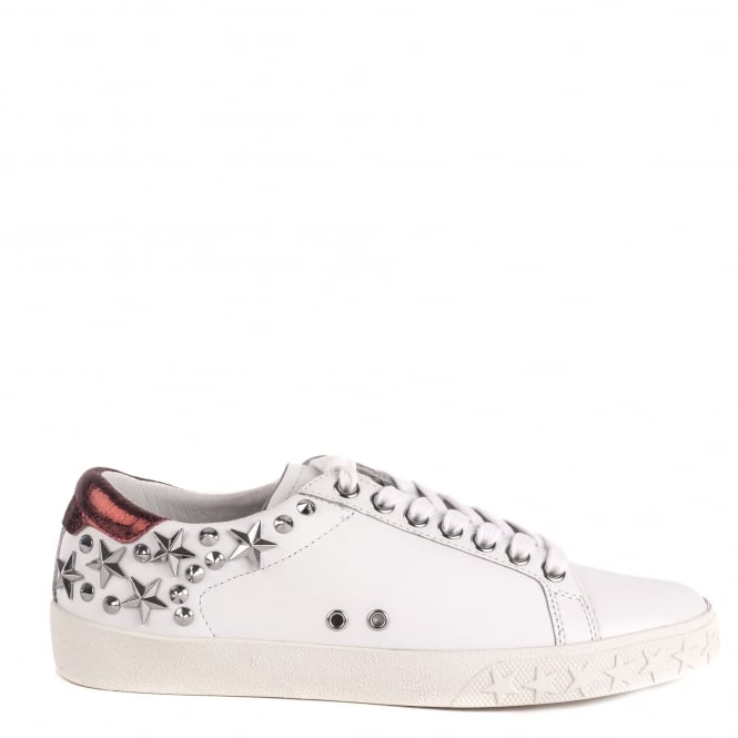 Ash DAZED Trainers White & Metallic Red Leather