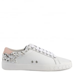 Ash DAZED Trainers White & Powder Pink Leather Silver Studs