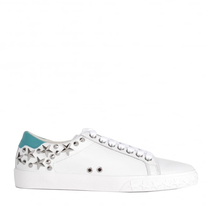 Ash DAZED Trainers White & Turquoise Leather