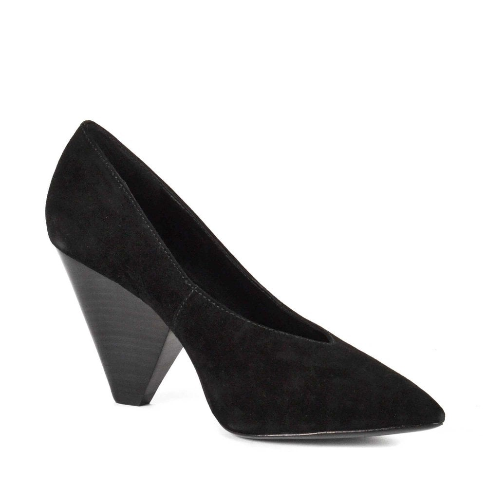 black cone heel shoes