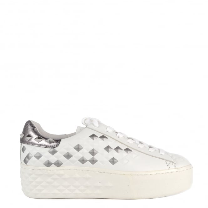 Ash DEJAY BIS Studded Trainers White & Silver Leather
