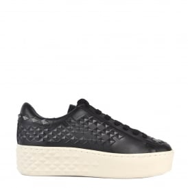DEJAY Studded Trainers Black Leather