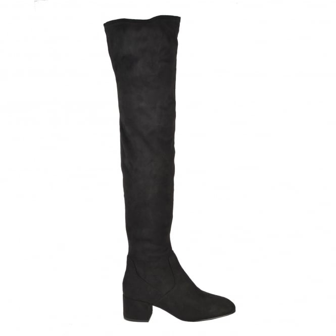 Ash DIVA Thigh High Boots Black Faux Suede