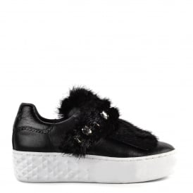 DJIN Trainers Black Leather & Fur