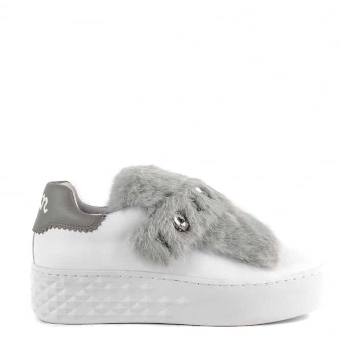 Ash DJIN Trainers White Leather & Grey Fur