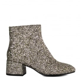 DRAGON Boots Silver & Green Glitter