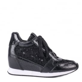 DREAM LACE Wedge Trainers Black Leather & Lace