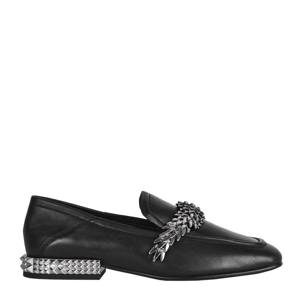 df26acb219b Ash EDGY Loafers Black Leather   Silver Studs