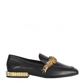 EDGY Studded Loafers Black Leather & Gold Studs