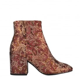 EGOISTE Ankle Boots Bordeaux & Gold Brocade