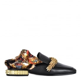 ELITE Silk Scarf Slip On Loafers Black Leather & Gold