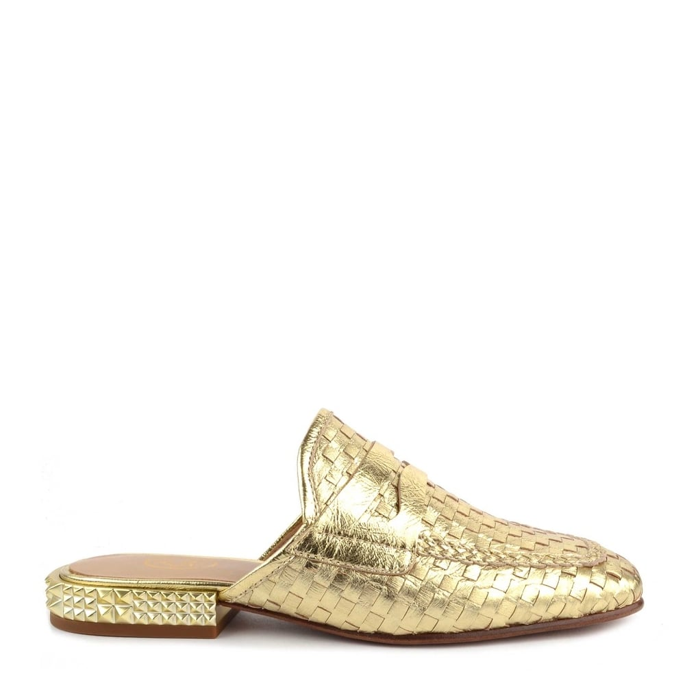 ccf25bfd646d Ash ELOISE Woven Gold Leather Slip On Loafers