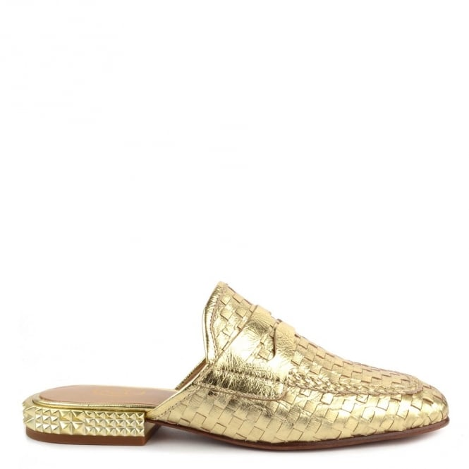 Ash ELOISE Woven Gold Leather Slip On Loafers