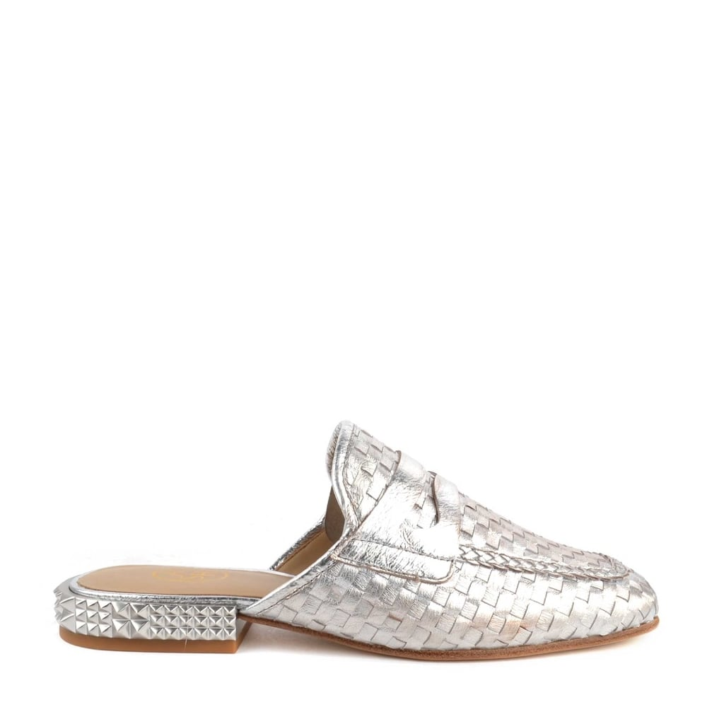 4b6fe3e93334 Ash ELOISE Woven Silver Leather Slip On Loafers