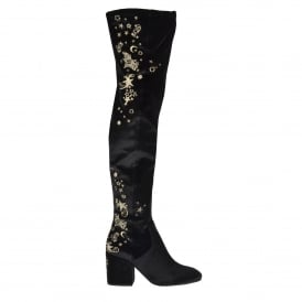 EROS Thigh High Moon & Stars Boots Black Velvet