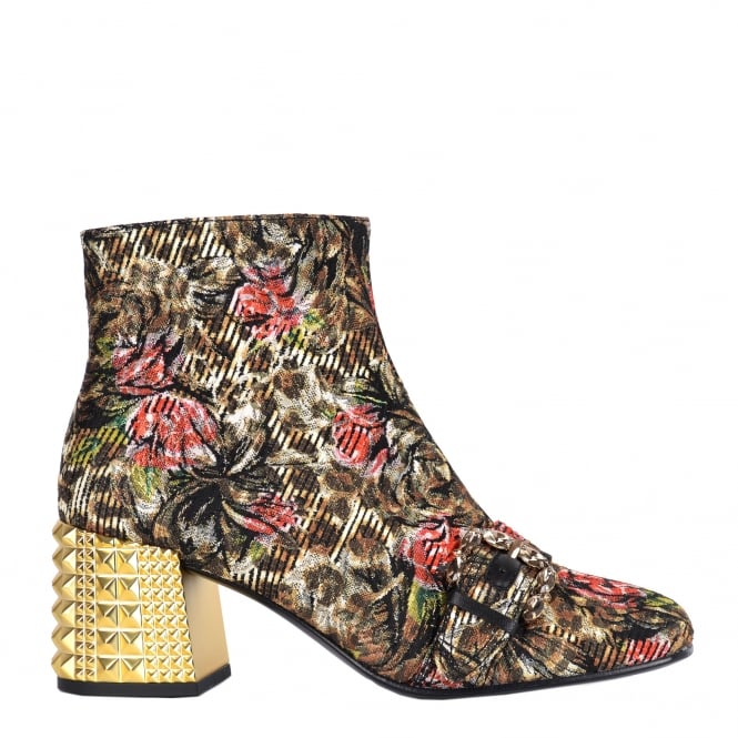Ash ESQUIRE Ankle Boots Leopard & Floral Tapestry Print