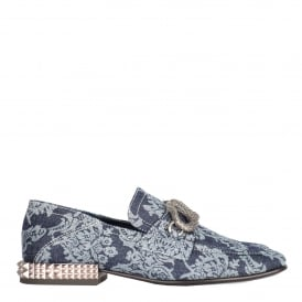 EXODUS Studded Loafers Blue Floral Denim & Studs