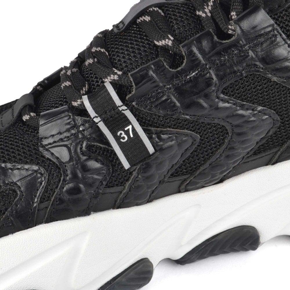 Women's Black Leather Sneakers