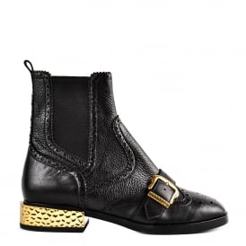 FACE Brogue Chelsea Boots Black Leather & Gold
