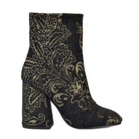 FEDORA Flared Heeled Boots Black & Gold Fabric