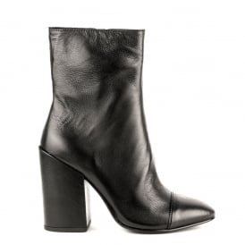 FLORA Midi Boots Black Leather