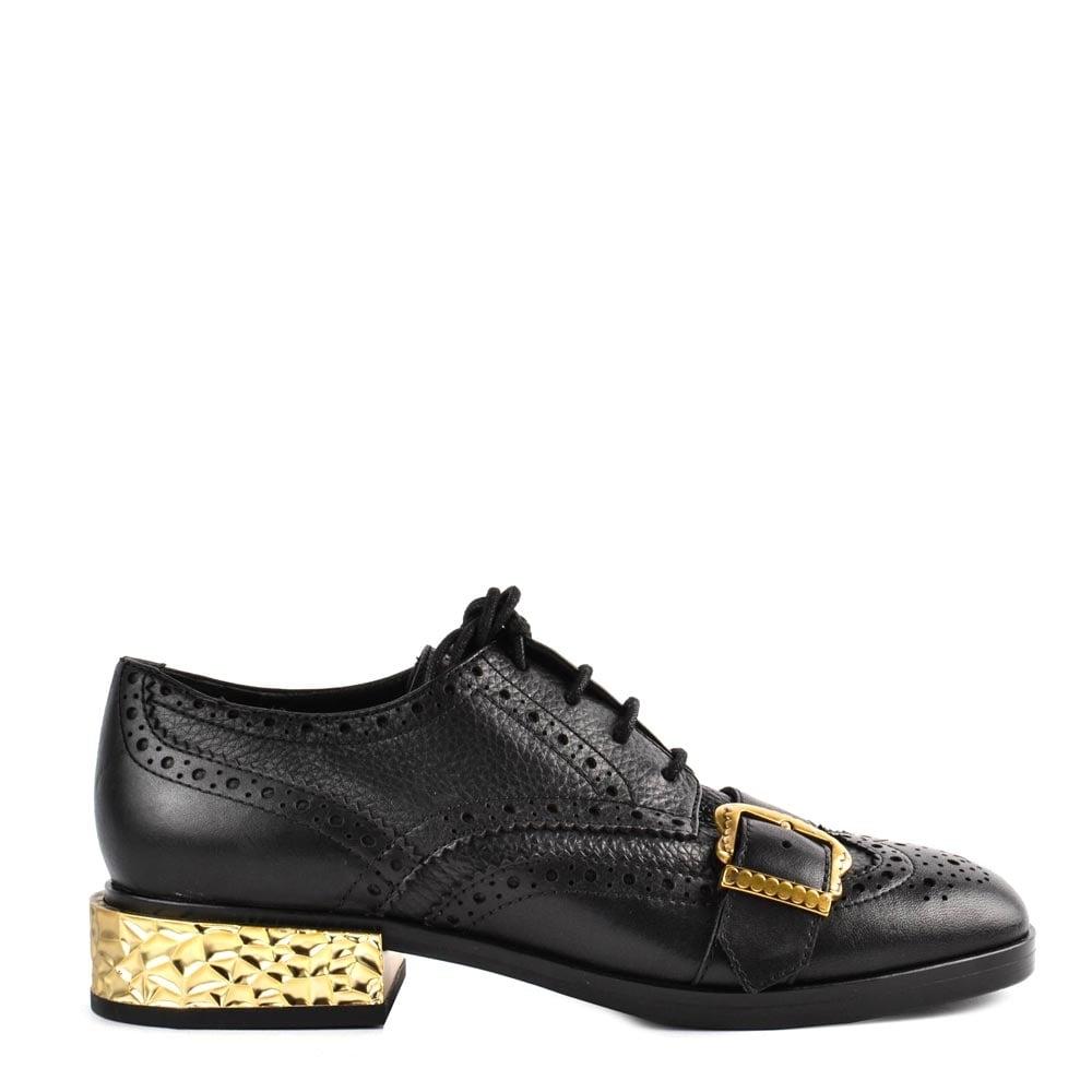 FREAK Brogues Black Leather & Gold