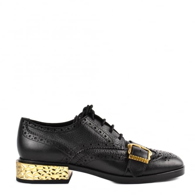 Ash FREAK Brogues Black Leather & Gold
