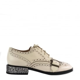 FREAK Brogues Talc (Cream) Leather & Silver