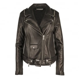 FULLSCREEN Leather Biker Jacket Black