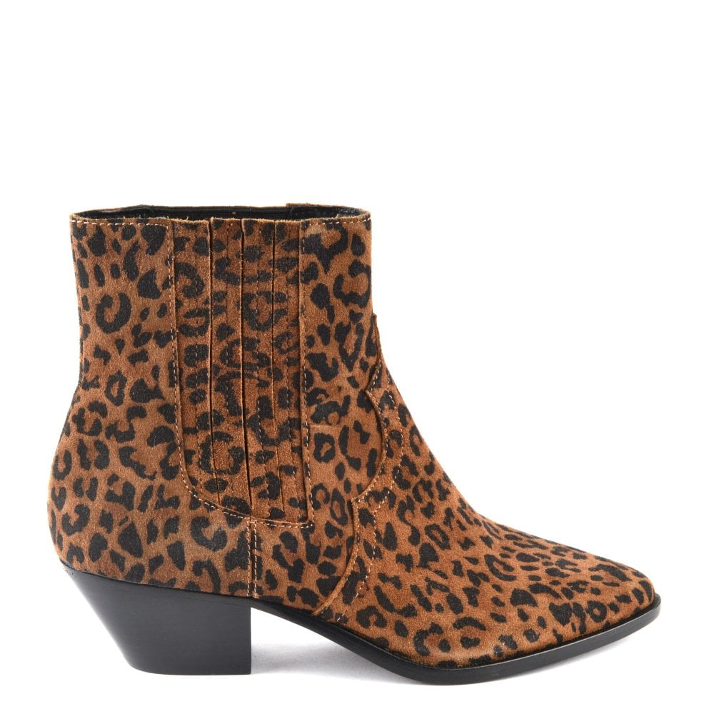 leather leopard print boots