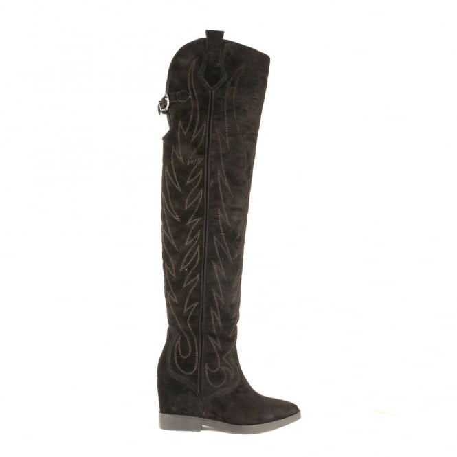 Ash GAUCHO Thigh High Boots Black Suede