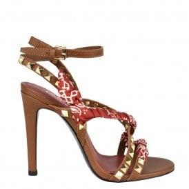1e9387250f GEISHA Heeled Sandals Brown Leather & Studs