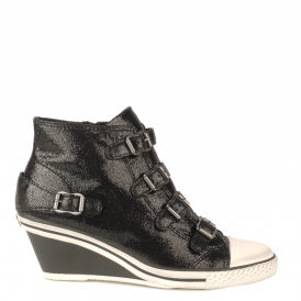 GENIAL Mid-Wedge Trainers Black Glitter Coated Leather