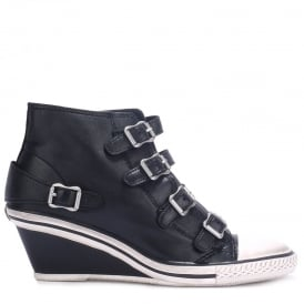 GENIAL Mid-Wedge Trainers Black Leather