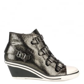 GENIAL Mid-Wedge Trainers Bronze Glitter Coated Leather