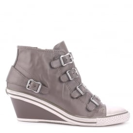 GENIAL Mid-Wedge Trainers Perkish Grey Leather