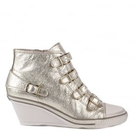 GENIAL Mid-Wedge Trainers Platine Leather