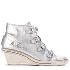 GENIAL Mid-Wedge Trainers Silver Leather