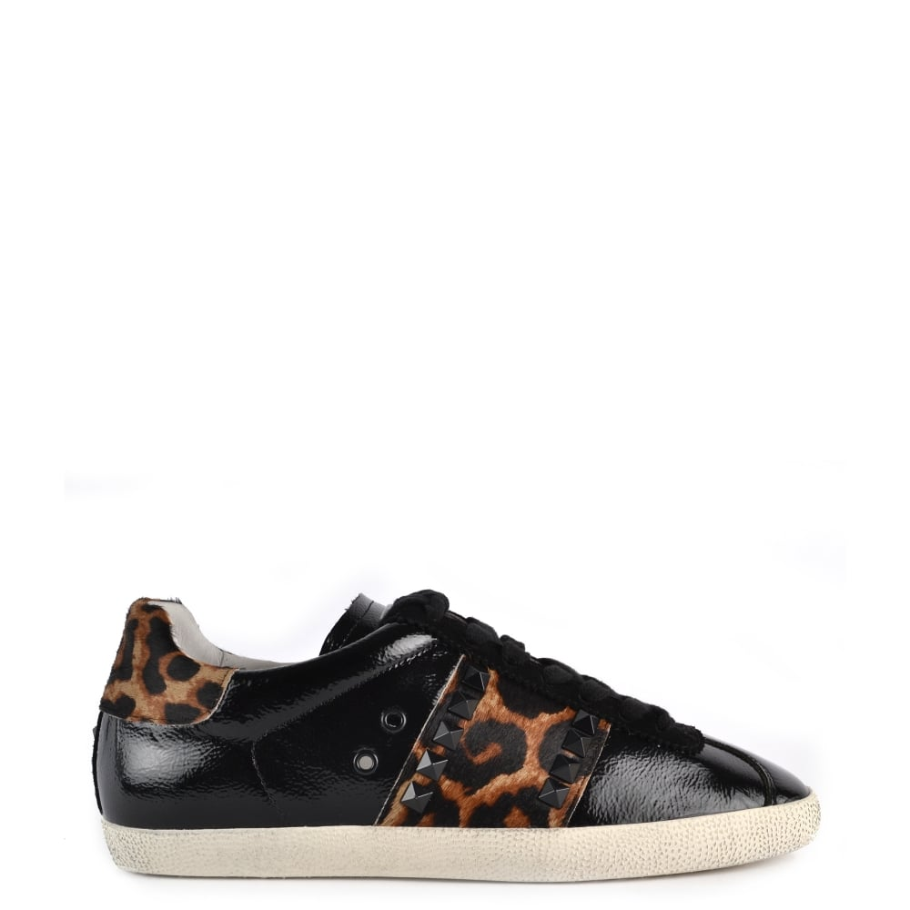 GINGER Trainers Black Vinyl Leather & Leopard Print Pony Hair