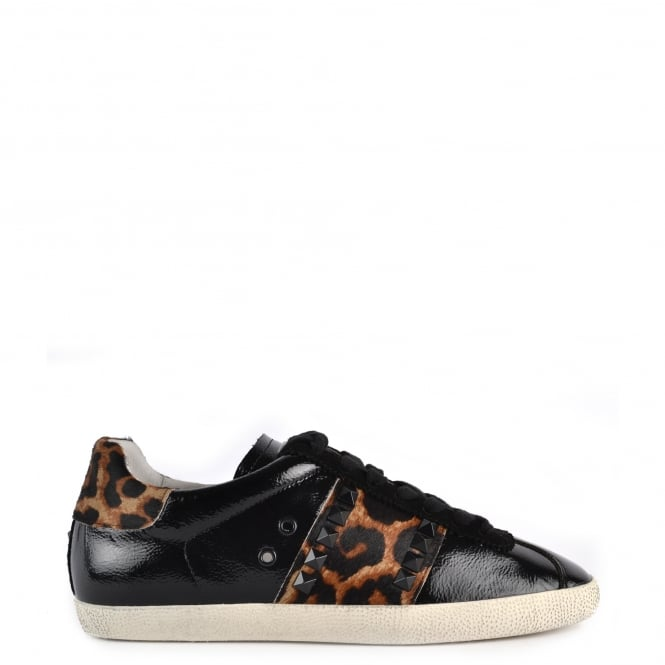 Ash GINGER Trainers Black Vinyl Leather & Leopard Print Pony Hair