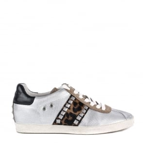 Ash GINGER Trainers Silver Leather & Leopard Print Pony Hair