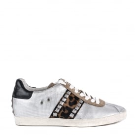 GINGER Trainers Silver Leather & Leopard Print Pony Hair