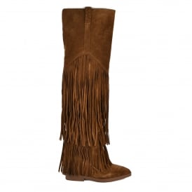 GIPSY TER Thigh High Fringed Boots Russet Suede