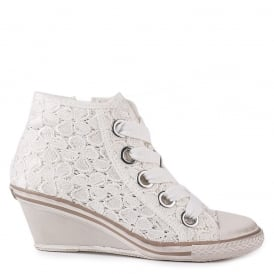 GLEN Mid-Wedge Trainers White Lace