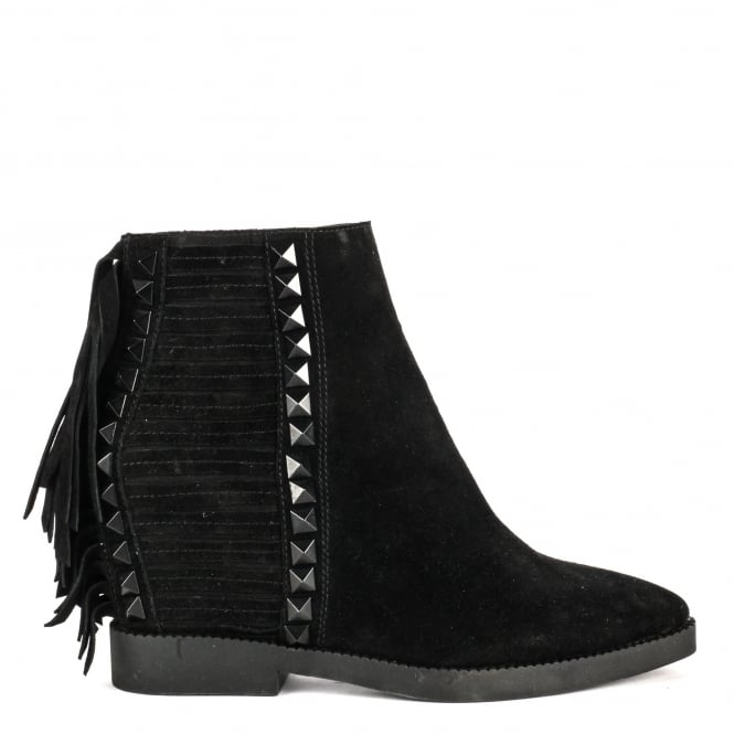 Ash GLORY Fringed Wedge Boots Black Suede & Studs