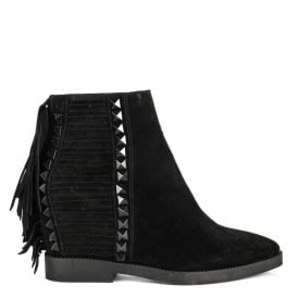 GLORY Fringed Wedge Boots Black Suede & Studs