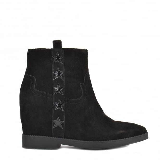 Ash GOLDIE Wedge Boots Black Suede & Patent Leather