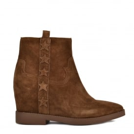 GOLDIE Wedge Boots Russet Suede